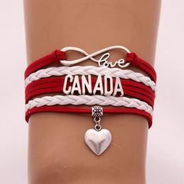 grossista braceletes canadá Desconto CANADÁ bandeira pulseira carta corda pulseira de couro por atacado