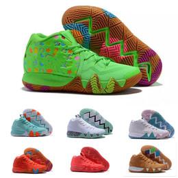 gilet gris Promotion 2019 Kyrie IV Green Lucky Charms chaussures ventes chaudes Top qualité Irving 4 chaussures de basket-ball de céréales livraison gratuite