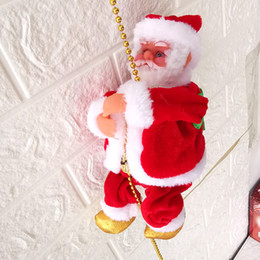 Natal, brinquedo, ornamentos, miúdos on-line-Partido corda de escalada elétrica Papai Noel novidade de Natal Pendant Xmas DIY ornamento Festival Gag Toy Kid presente LA202