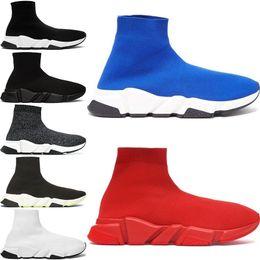 Sapatos de malha originais on-line-2019 nova paris velocidade formadores malha meia sapato original designer de luxo dos homens das mulheres tênis barato alta melhor qualidade sapatos casuais tamanho 36-45