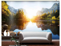 Mural do lago on-line-3D papel de parede personalizado foto de seda papel de parede mural Lake luz montanha paisagem paisagem simples sala de estar sofá TV fundo mural papel de parede