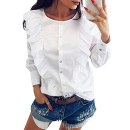 camicie vittoriane Sconti nuove Camicette a maniche lunghe Donna Lady Victorian OL Camicia Frilly Ruffle Tops Flounce Blouse Tops in Spring Autumn Women