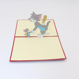 Feliz cumpleaños Tarjeta de felicitación 3D Pop Up Ratón Gato Postal Historieta Comic Día del niño Regalo para niños Envío gratis desde fabricantes