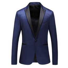 mens shiny suits jackets Coupons - Mens suit jacket shiny dinner smart business blazer drop ship S-3XL blue wine red black male clothes spring autumn Poly viscose