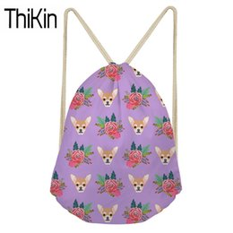 415bea141595 THIKIN Shoulder Backpacks Women Chihuahua Printing Mini String Beach Pouch  for Females Drawstring Backpack Teen Girls Storage
