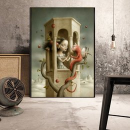 figure girl oil painting Promo Codes - Scary girl of Nicoletta Ceccoli HD Wall Art Canvas Posters Prints Painting Wall Pictures For Office Living Room Home Decor Artwork