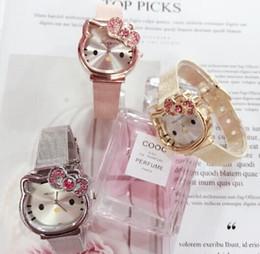 Модные женские часы Детские часы Милый мультфильм Hello Kitty Cat Watch Роскошные модные женские часы из нержавеющей стали с ремешком для часов cheap stainless steel kids watches от Поставщики часы из нержавеющей стали