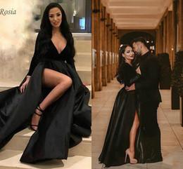 Vestidos de noche de manga larga Arabia Saudita Sexy Escote en V profundo Corte alto Estilo árabe Negro Formal de las mujeres Vestidos de noche Terciopelo Satén Longitud del piso desde fabricantes