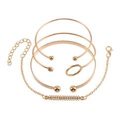 2019 padrões de pulseiras de ouro 4 pçs / set conjunto de pulseiras de ouro Boho pulseiras redonda padrão geométrico charme pulseiras para mulheres fácil jóias simples feminino padrões de pulseiras de ouro barato