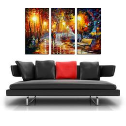 óleo, pinturas, lona, orquídeas Desconto HD Impressão Leonid Afremov Abstrato Na Lona Chuva Noite Casais Na Estrada Moderna Decoração Arte Da Parede Sem Moldura / Com emoldurado