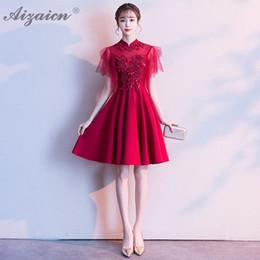 2019 chinesischer roter rock Red Mini Garn Rock Mode schwangere kurze Cheongsam moderne Braut heiraten Kleid Qi Pao Frauen chinesische Hochzeitskleid Qipao Promotion rabatt chinesischer roter rock