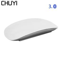 2019 el ratón inalámbrico más delgado CHUYI Bluetooth Wireless Magic Mouse Slim Arc Touch Mouse Ergonómico Óptico USB Ordenador Ultra-delgado BT 3.0 ratones para Mac PC el ratón inalámbrico más delgado baratos