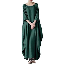 9230637875 China women dress Solid Cotton Baggy Oversized Long Maxi Dresses Women Crew  Neck Loose Casual dress