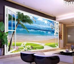 Carta da parati murale 3D personalizzata 3D fuori dalla finestra, naturale e chiaro 3D bella vista mare Soggiorno TV sfondo Bound parete Wallpaper da tavole di bambù fornitori