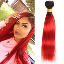 capelli rossi caldi brasiliani Sconti Filo brasiliano Ombre Brasiliano capelli lisci Bundles Offerte Pre-Colored Human Hair Weave Dark Roots Trama di capelli rosso caldo