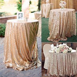 couverture de table de décoration de mariage Promotion Nappe en paillettes or rose mariage belle table de paillettes de champagne Champagne / Overlay / Cover / plusieurs fournitures de mariage de taille
