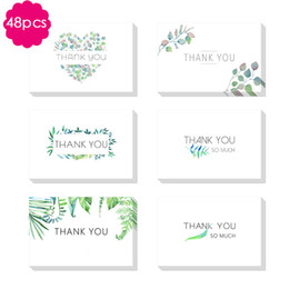 Inviti di invito di nozze verde online-48pc GRAZIE Inviti Cards con busta Green Leaves Biglietti d'auguri per il bambino Wedding Bridal Shower Bussiness Anniversario SH190923