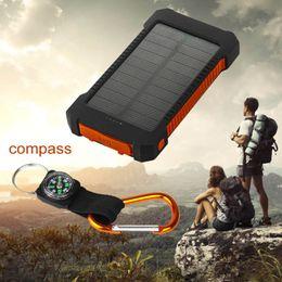 2019 galaxy s5 nueva batería Cargador solar para teléfono Banco de energía solar Batería de respaldo externa portátil Portátil Dual USB con linterna para iPhoneX, iPhone7, iPad, Samsung Cel