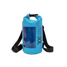 wasserdichtes netzgewebe Rabatt Designer-Außenabdichtungen Tasche PVC beschichtet Mesh-Gewebe-wasserdichte Wannen-Beutel-Outdoor-Camping-Rucksack Sport Rucksack Watet