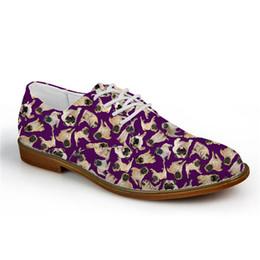 Sapatos de vestido de cachorro on-line-Venda quente-Homens Oxfords Sapatos Animais Bonitos Husky Pug Cão Impresso Apartamentos Flats Moda Oxford Sapatos Homem Casual Vestido