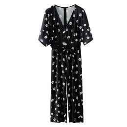f3f326f502c 2019 Summer Vintage Women Chiffon Jumpsuit Floral Print V Neck Short Sleeve  Zipper High Waist Pockets Boho Playsuit Overalls