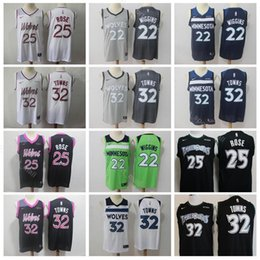 2019 City Earned Edition Derrick 25 Rose Jersey Minnesota Basketball  Timberwolves Karl Anthony 32 Towns Andrew 22 Wiggins Black White Green 9bae55766