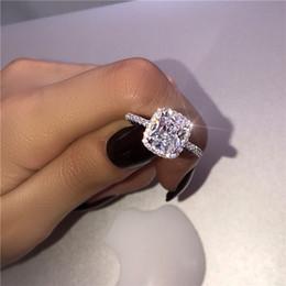 Banda de compromiso de diamantes online-Choucong Promise Ring 925 Sterling Silver Cushion cut 3ct Diamond Engagement Wedding Band anillos para mujeres hombres joyería