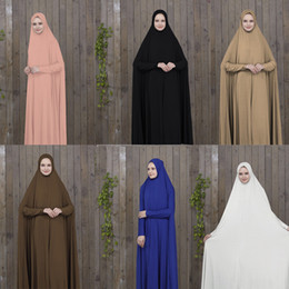 abaya vêtements islamiques femmes Promotion Ramadan Abaya Dubai Musulman Robe Femme Prière Vêtements Noir Caftan Avec Hijab Robes Femmes Arabes Vêtements Islamiques Turquie Islam Elbise