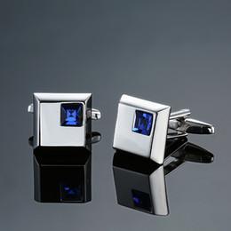 guarnição da corrente do rhinestone da flor Desconto 15mm de Luxo azul abotoaduras de cristal Para Homens Francês Camisa de Alta Qualidade quadrado Abotoaduras M1 Abotoaduras Marca de Jóias Presente de Casamento Da Marca