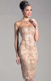 элегантные платья Скидка 2019 новый элегантный дизайн совок-шея длиной до колен коктейльные платья аппликации украшения ну вечеринку платья короткая юбка 131