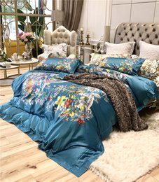Подушка синей птицы онлайн-Deep Blue Bird-song Flower Printing Deluxe 4pcs Egyptian Cotton Queen Down Quilt Sheets, Bed Sheets, Pillow Covers