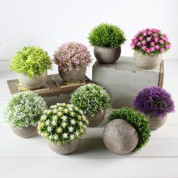 Hierbas de flores online-Falsa Flor de Hierba Bola de Plástico Bonsai Flores Artificiales Simulación Restauración de Plantas Antiguas Maneras Antiguas MMA1704