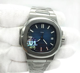 2019 relojes de lujo hombres pp U1 Movimiento de fábrica Grabado Reloj de lujo para hombre Nautilus PP Automático Mecánico Acero inoxidable Transparente Azul Dial Hombres Relojes rebajas relojes de lujo hombres pp