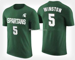 Camisetas george online-Playera personalizada verde de Michigan State Spartans para hombres # 5 Cassius Winston # 11 Lourawls Nairn Jr. # 0 Kyle Ahrens # 41 Conner George