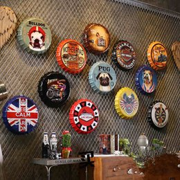 Stickers muraux café en Ligne-Casquette de bouteille en métal artisanat rétro en métal bière casquette de bouteille autocollants casquette de bouteille décoration murale bar café boutique décoration de la maison
