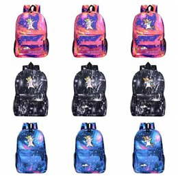 Stampa galassia alta online-Cartoon Unicorn zaino della stampa della galassia spalle Bambini del banco dei bambini borsa da viaggio zaino di campeggio ad alta capacità 32 stili HHA485
