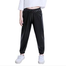 12 meses ropa de marcas para niños Rebajas Pantalones de moda para niños Ropa de otoño para niños Pantalones de cuero de pu para niñas Pantalones de harén casuales para niñas 2-14Y