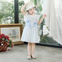 Piccolo fiore del puntino online-2019 Nuovo vestito estivo Dot Flower Baby Little Girls Bambini Cotton Lace Bow-Knot Vestito carino, blu / rosso