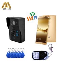 Control de acceso tcp ip puerta online-Buena calidad TCP / IP WIFI Video de puerta Teléfono con lector de sistemas de control de acceso Control remoto Timbre de la puerta WIFI1002MJIDS