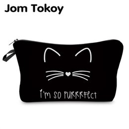 a4cc46bd97 Jom Tokoy 2018 cosmetic organizer bag Pure black Cute cat prints Cosmetic  Bag Fashion Women Brand makeup bag  29885 discount korean makeup brands