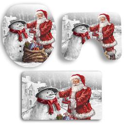 Alfombras estampadas online-3 Unids Juego de Alfombras de Baño Papá Noel Y Muñeco de Nieve Patrón Alfombra Alfombra Cubierta de Inodoro Alfombra de Baño Antideslizante Patrón Inodoro Alfombra