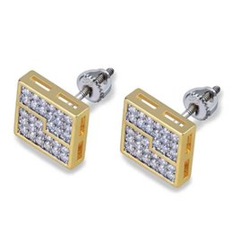 faa859636b40 Hip Hop Iced Out Stud Pendiente Real 925 Sterling Silver Tiny Jewelry  dainty mini Cute Pendientes Para niña