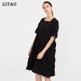 95d1606abce6  XITAO  Nuove donne Corea moda 2019 estate colletto quadrato manica corta  vestito allentato femminile di colore solido vestito al ginocchio ZQ1191  vestiti ...