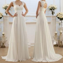 Vestido de noiva boêmio xl on-line-2019 Moda Marfim Luxo Elegante Lace Chiffon Magro Sexy Com Decote Em V A-line Long Beach Bohemian Vestido de Noiva Vestidos de Noiva