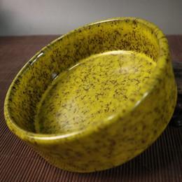 Spazzola di tornitura online-Collezione Porcellana cinese Lavoro manuale Forno a legna smaltato giallo per lavaggio a penna