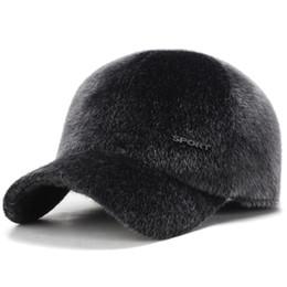 Chapéus à prova de inverno on-line-Moda outono e inverno snapbacks boné de beisebol imitação de vison cabelo homem ao ar livre à prova de frio protetores de ouvido chapéu presente de aniversário 12 5ydH1