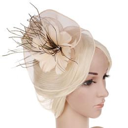 2019 свадебные шапки серые 2019 леди женская мода сетка цветок волос группа перо шляпа свадьба свадебные аксессуары для волос новое поступление