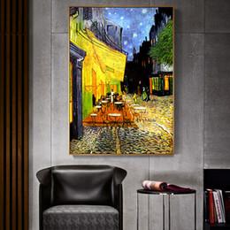 Van Gogh Terraza Del Café En La Noche De Análisis De La Lona Pintura Al óleo Famosa Pintura De La Reproducción De Pared Pósteres E Imprimir La