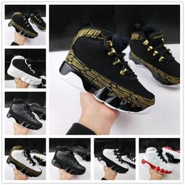 Schwarze turnschuhe für mädchen online-Airl 9 IX Bred LA Kinder Basketball Schuhe Kinder Designer Space Jam Barons GS Schwarz Oero Sport Sneakers für Jungen Mädchen 9s Schuhe