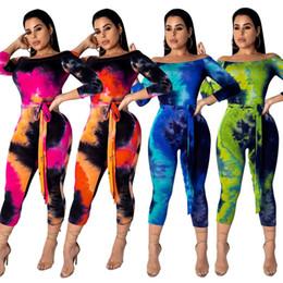 Calça on-line-Fora do ombro gradiente macacão estrela impressa meados de panturrilha calças de manga comprida romper moda feminina mulheres clothing 39 cm e1kk